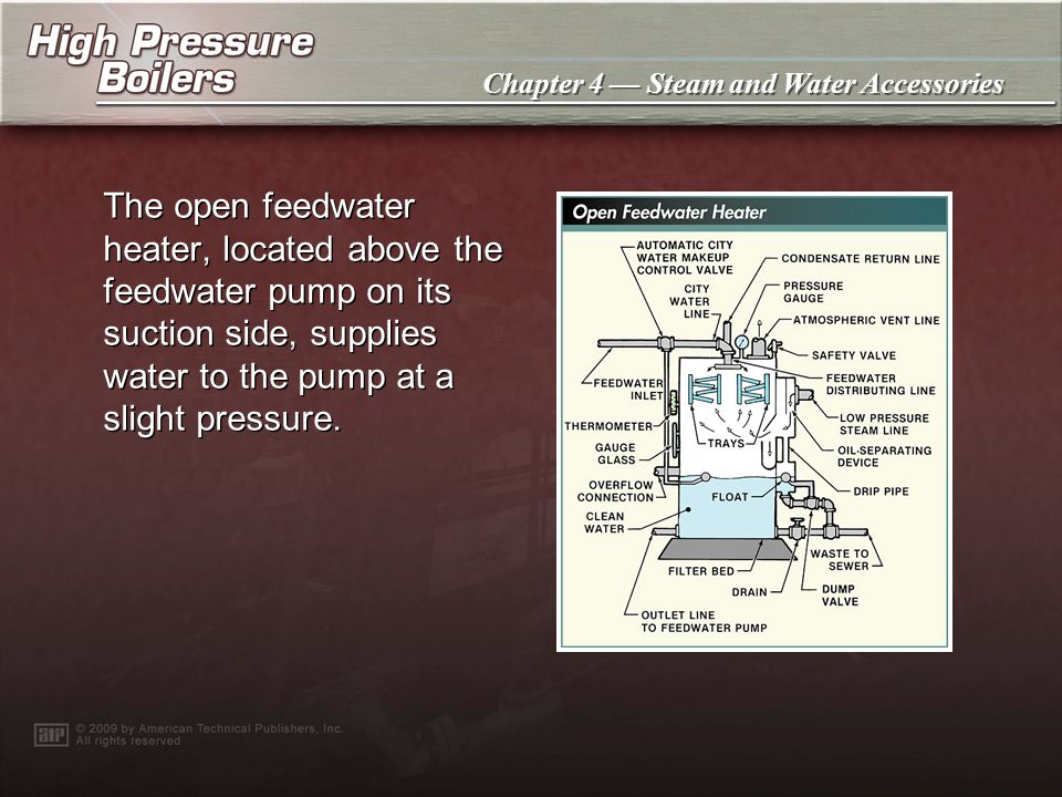 The open feedwater heater, located above the feedwater pump on its suction side, supplies water to the pump at a slight pressure.