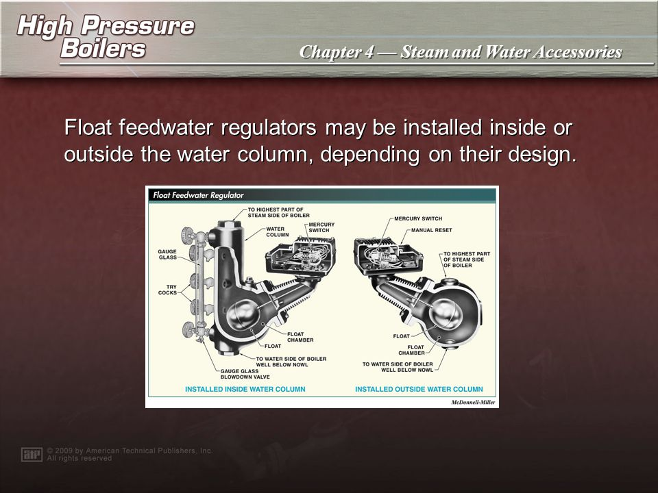 Float feedwater regulators may be installed inside or outside the water column, depending on their design.