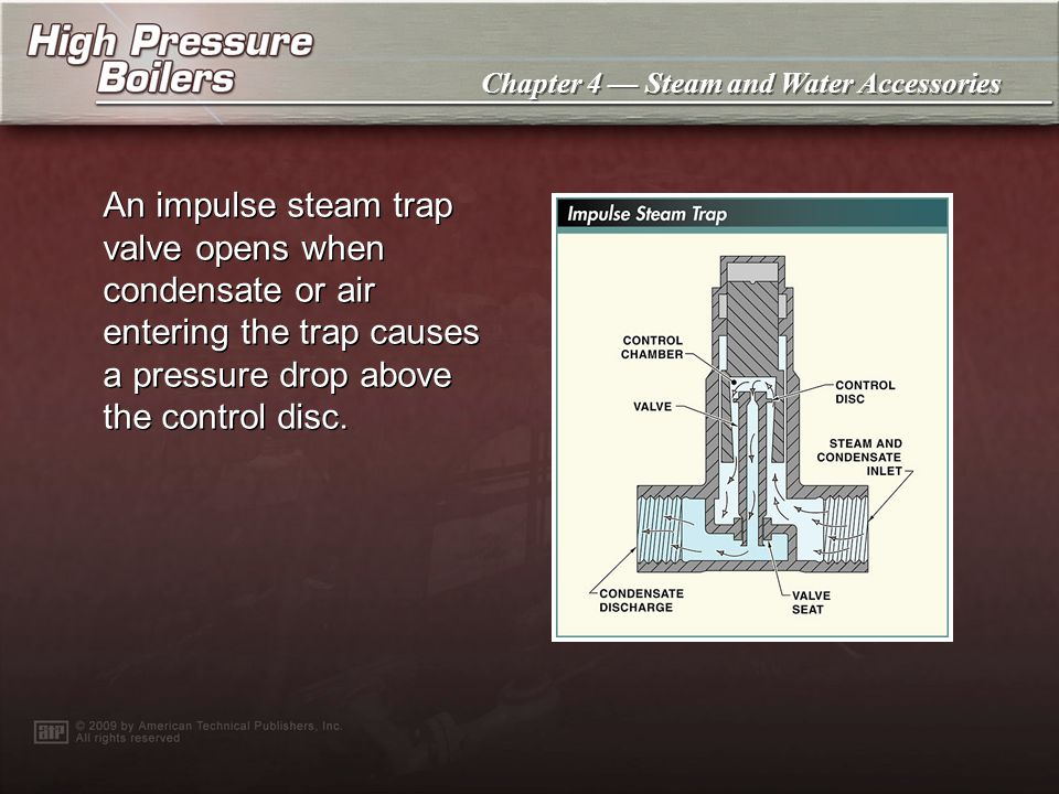 An impulse steam trap valve opens when condensate or air entering the trap causes a pressure drop above the control disc.