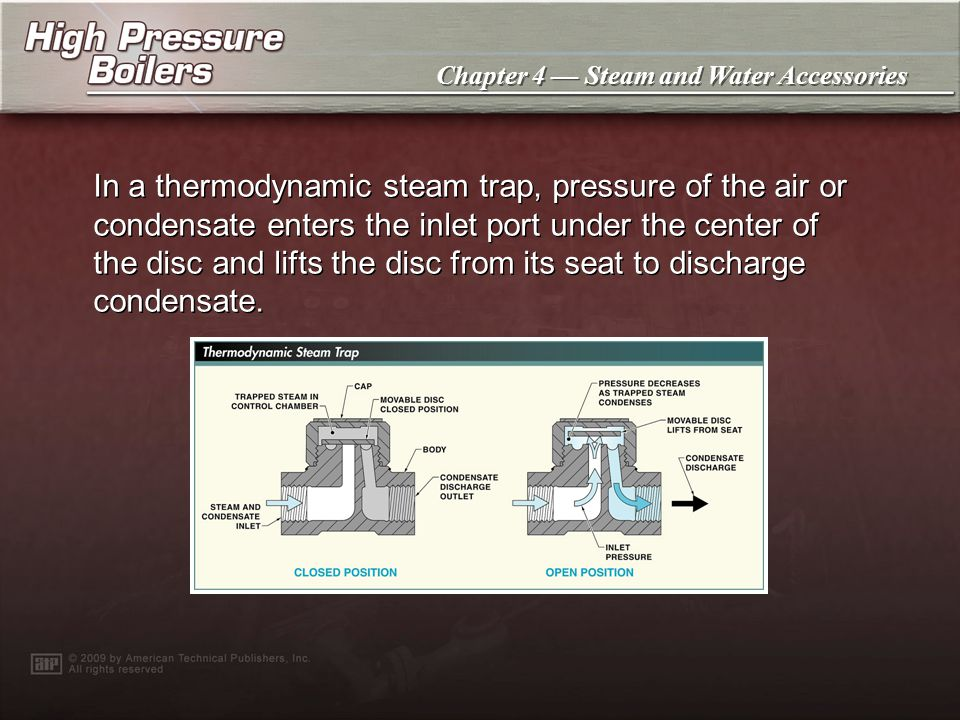 In a thermodynamic steam trap, pressure of the air or condensate enters the inlet port under the center of the disc and lifts the disc from its seat to discharge condensate.