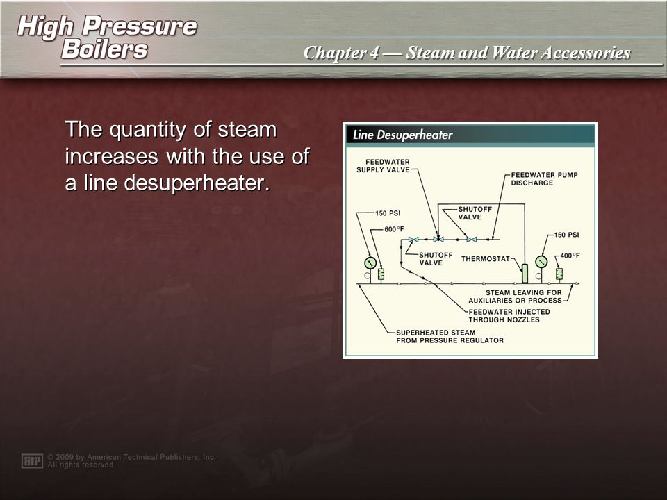 The quantity of steam increases with the use of a line desuperheater.
