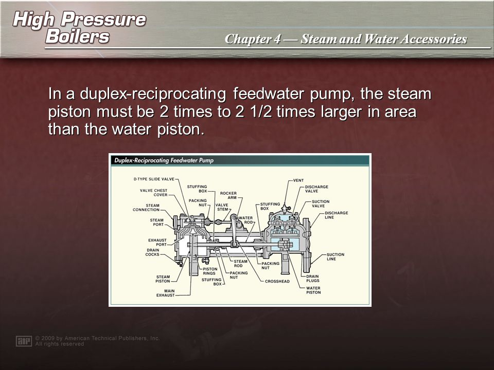 In a duplex-reciprocating feedwater pump, the steam piston must be 2 times to 2 1/2 times larger in area than the water piston.