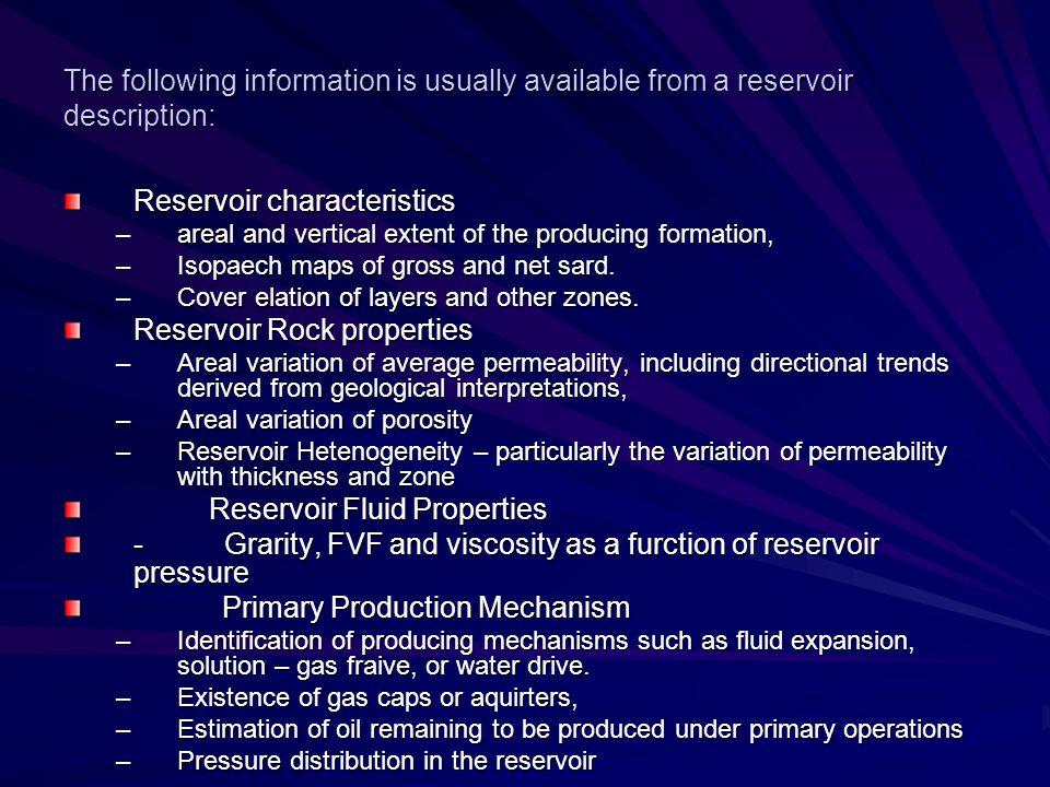 Reservoir characteristics