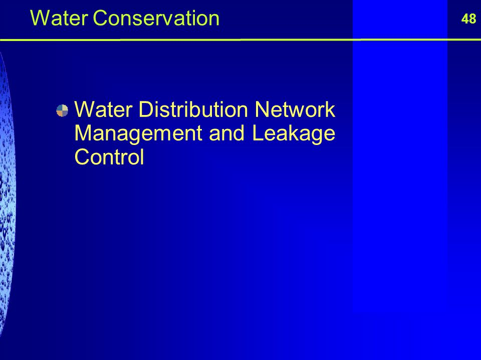 Water Distribution Network Management and Leakage Control