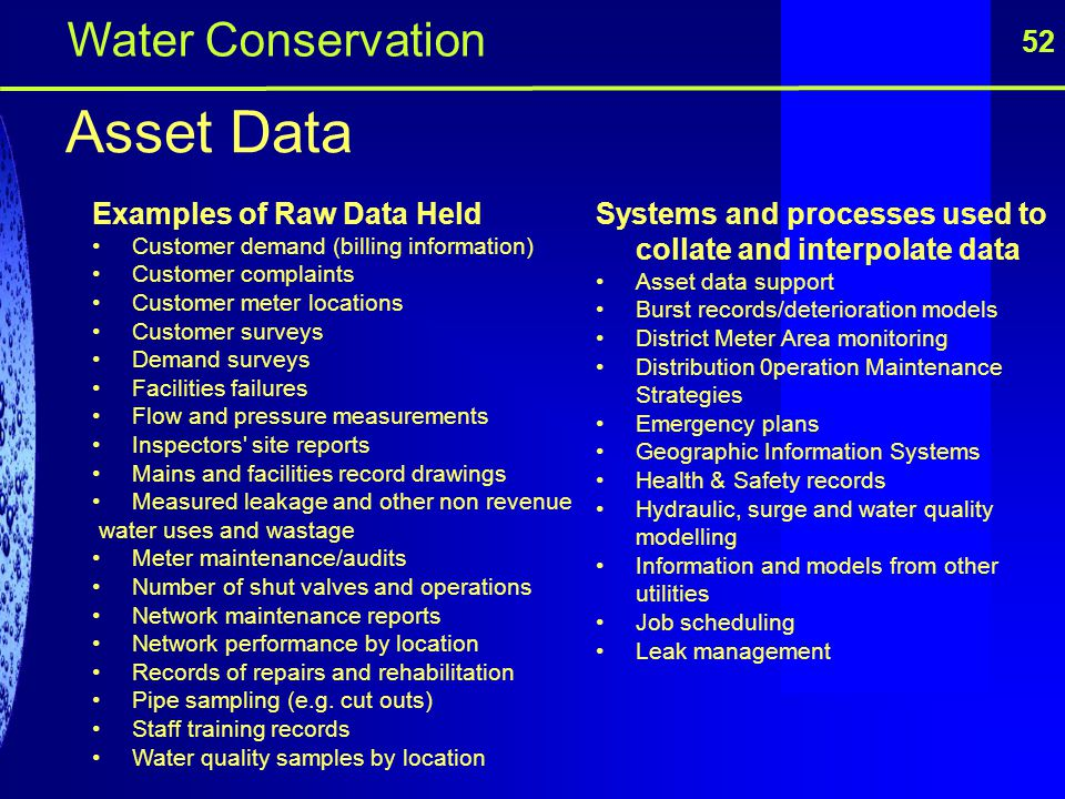 Asset Data Water Conservation 52 Examples of Raw Data Held
