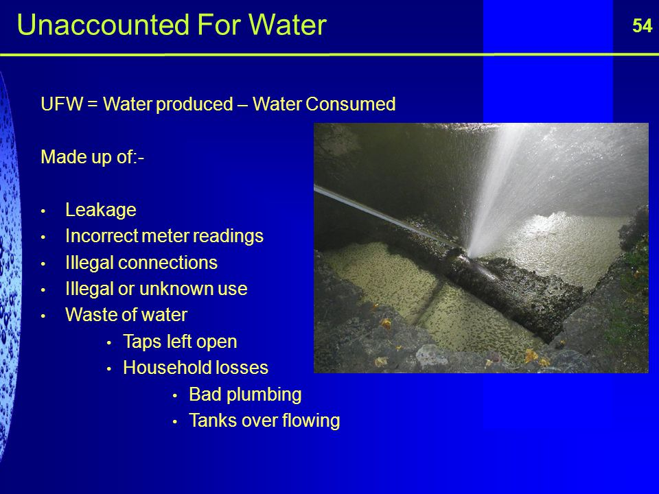 Unaccounted For Water 54 UFW = Water produced – Water Consumed