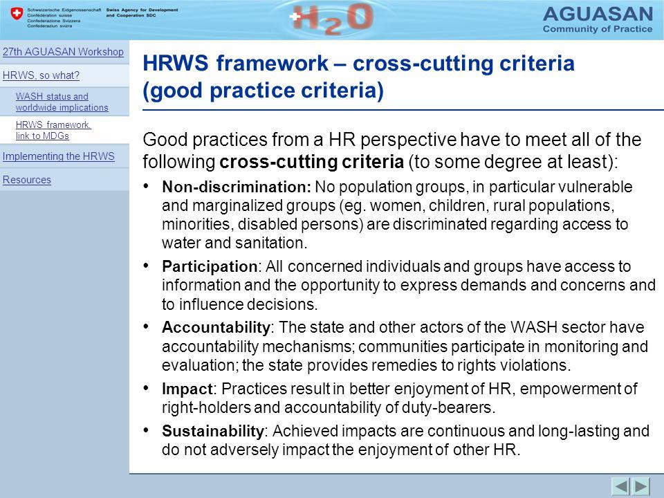 HRWS framework – cross-cutting criteria (good practice criteria)