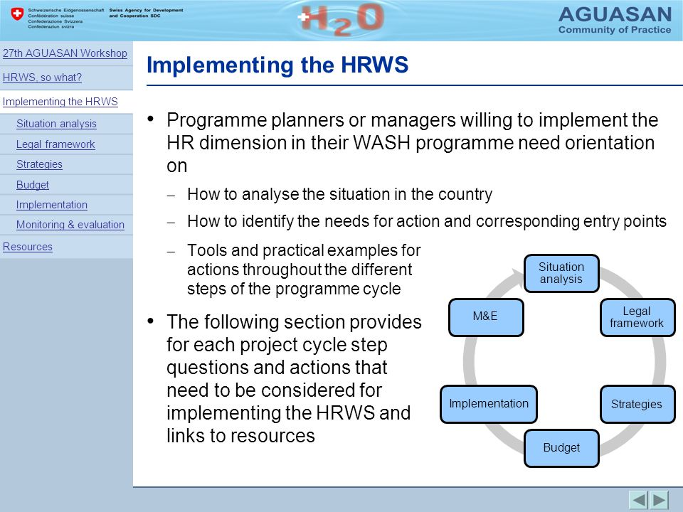 27th AGUASAN Workshop HRWS, so what Implementing the HRWS. Situation analysis. Legal framework.