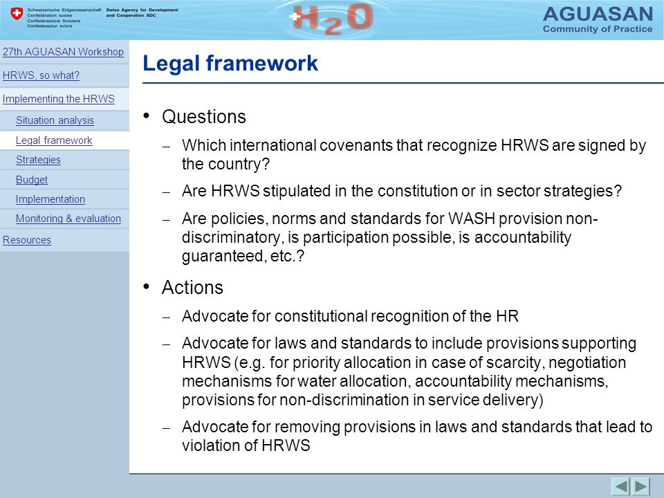 Legal framework Questions Actions