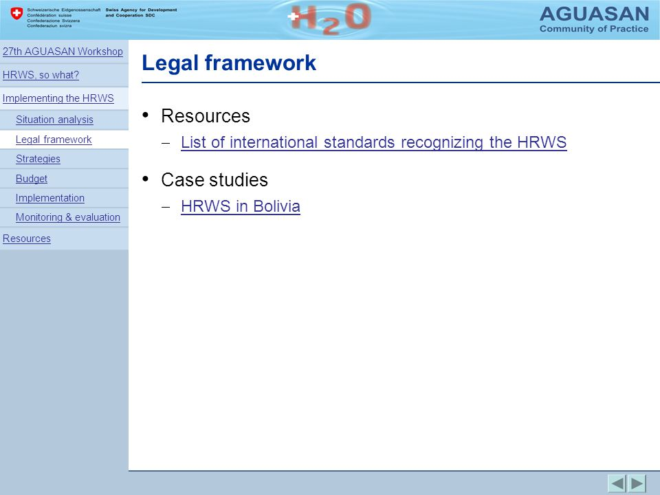 Legal framework Resources Case studies
