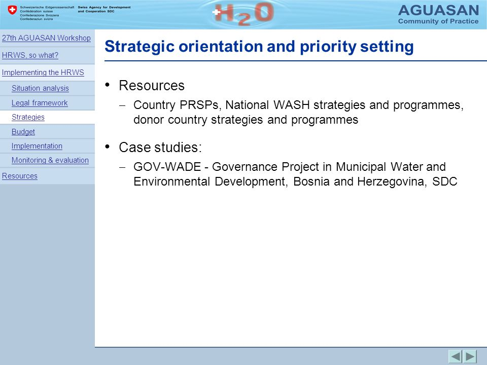 Strategic orientation and priority setting