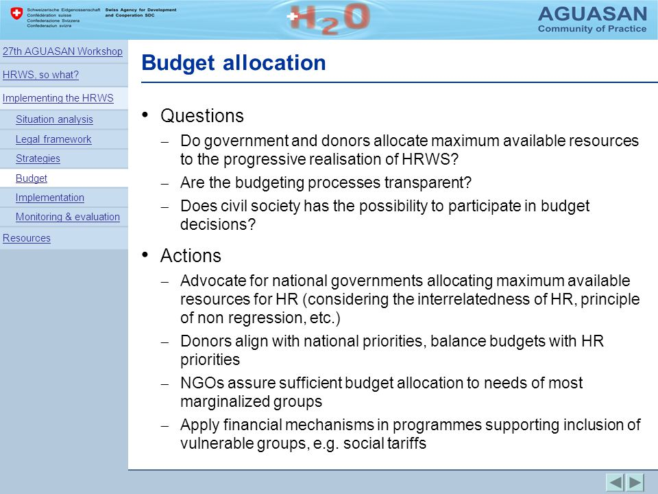 Budget allocation Questions Actions