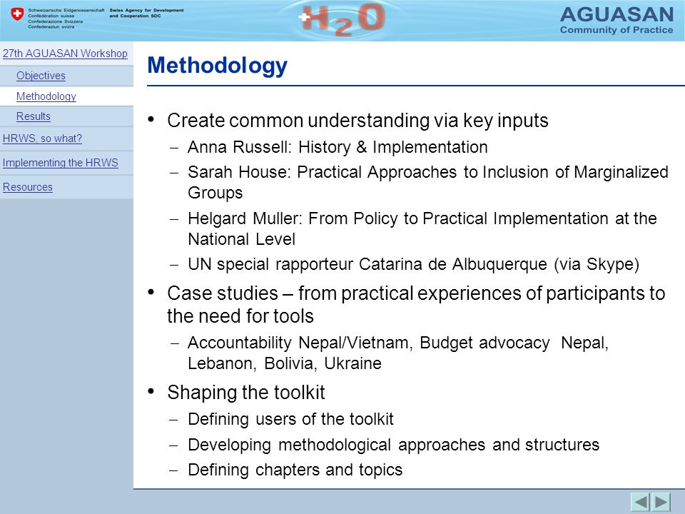 Methodology Create common understanding via key inputs