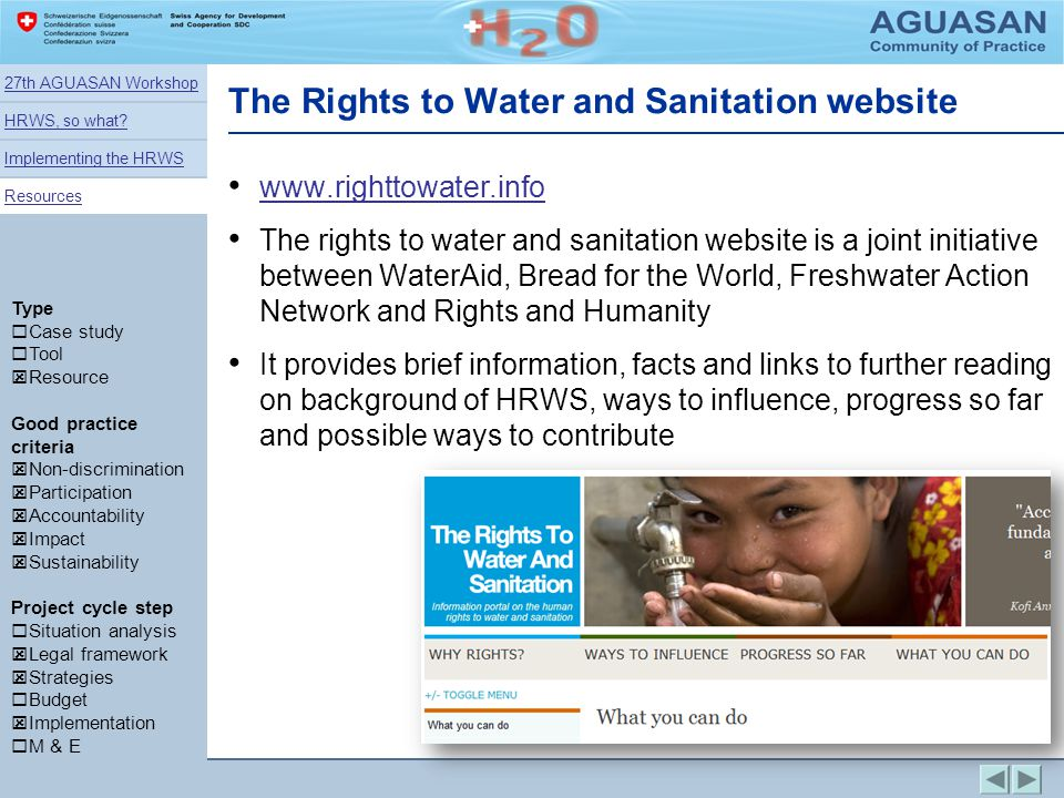 The Rights to Water and Sanitation website