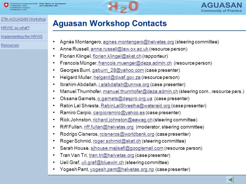 Aguasan Workshop Contacts