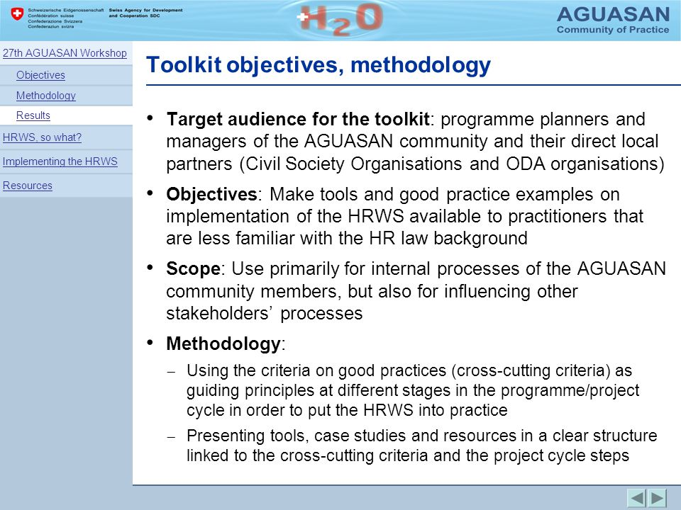 Toolkit objectives, methodology