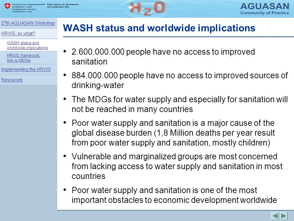 WASH status and worldwide implications