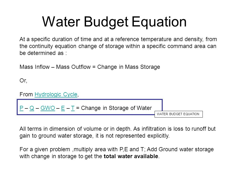 Water Budget Equation