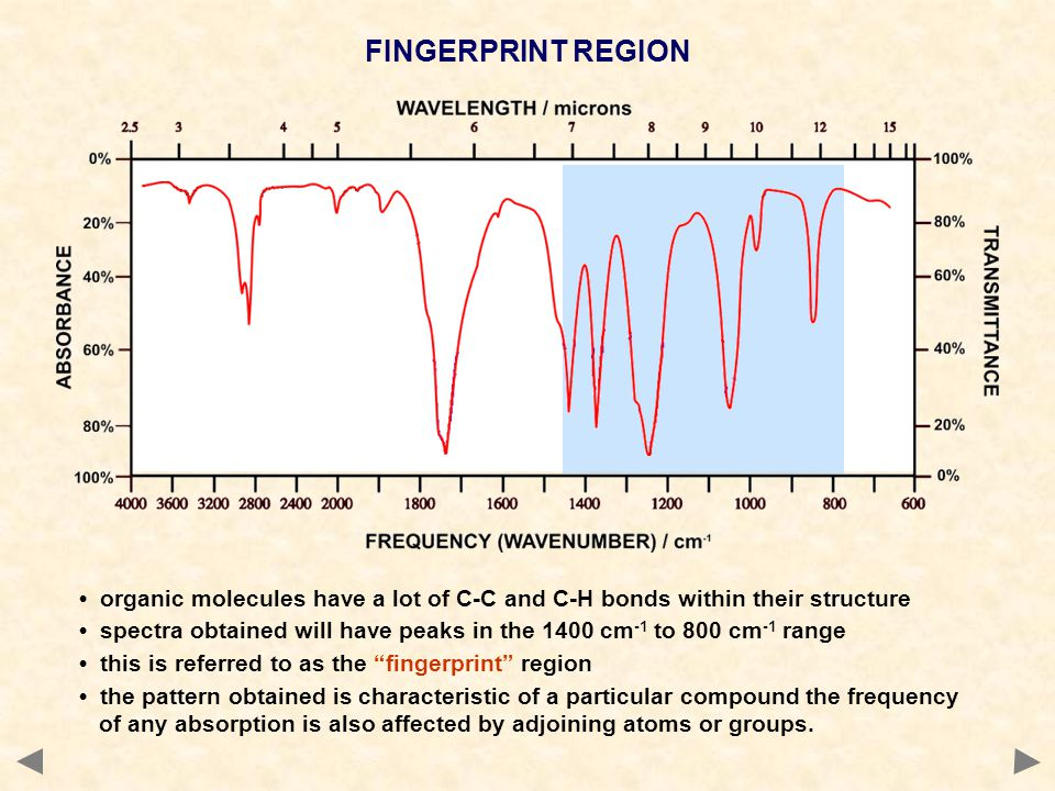 FINGERPRINT REGION • organic molecules have a lot of C-C and C-H bonds within their structure.