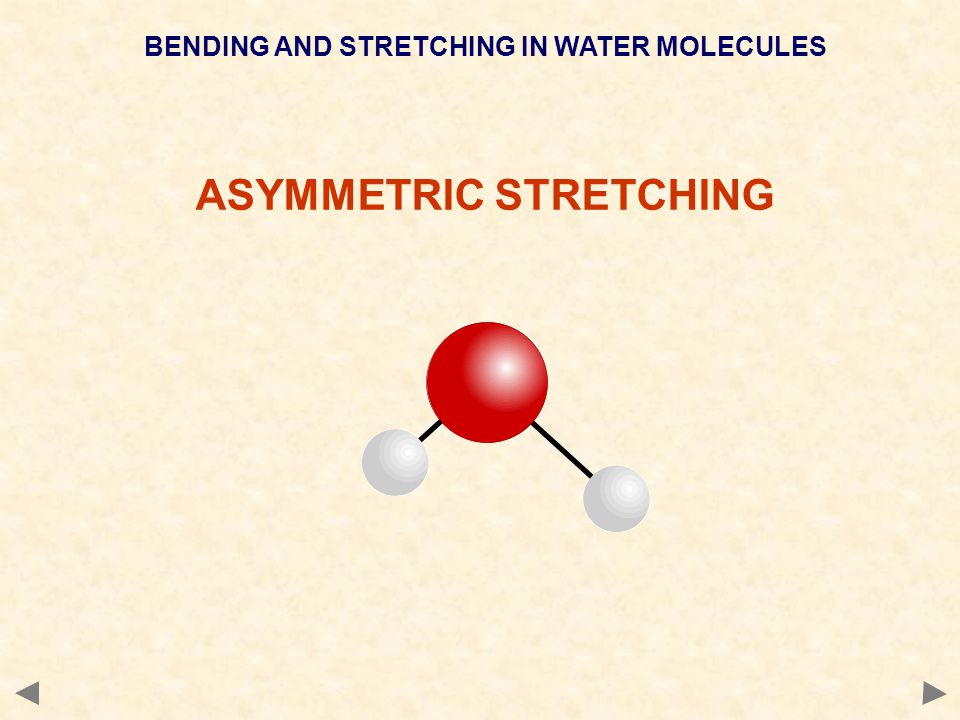 BENDING AND STRETCHING IN WATER MOLECULES ASYMMETRIC STRETCHING