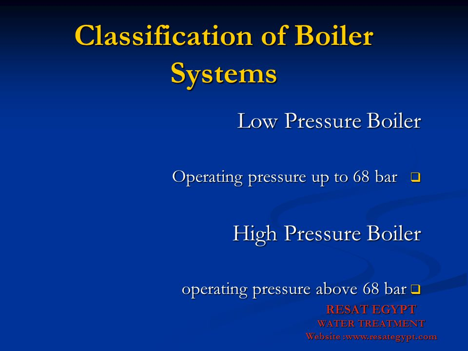 Classification of Boiler Systems