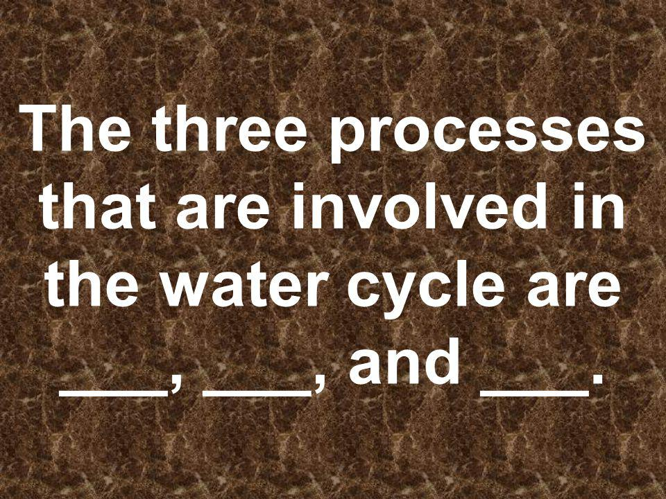 The three processes that are involved in the water cycle are ___, ___, and ___.