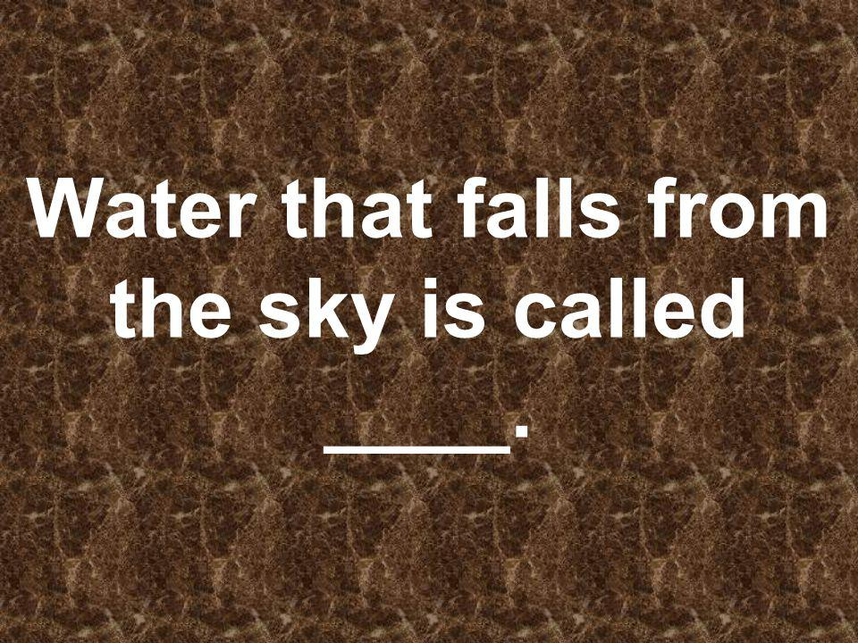 Water that falls from the sky is called ____.