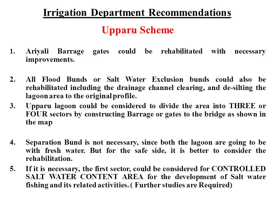 Irrigation Department Recommendations