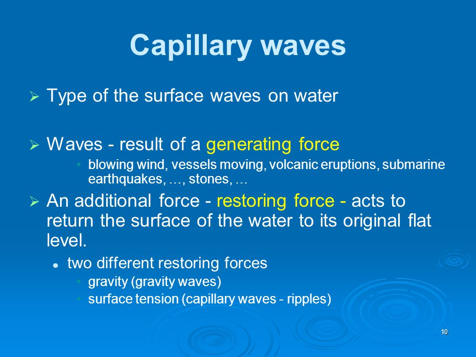 Capillary waves Type of the surface waves on water