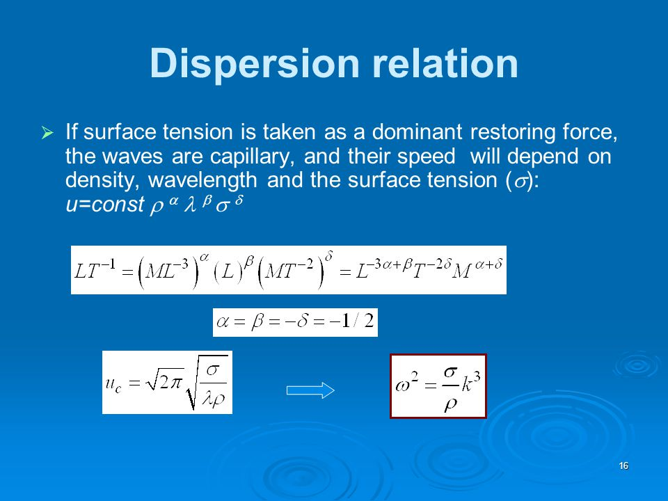 Dispersion relation