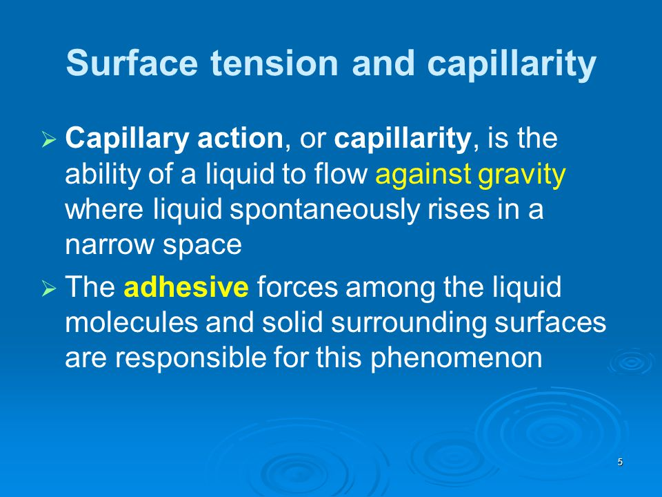 Surface tension and capillarity