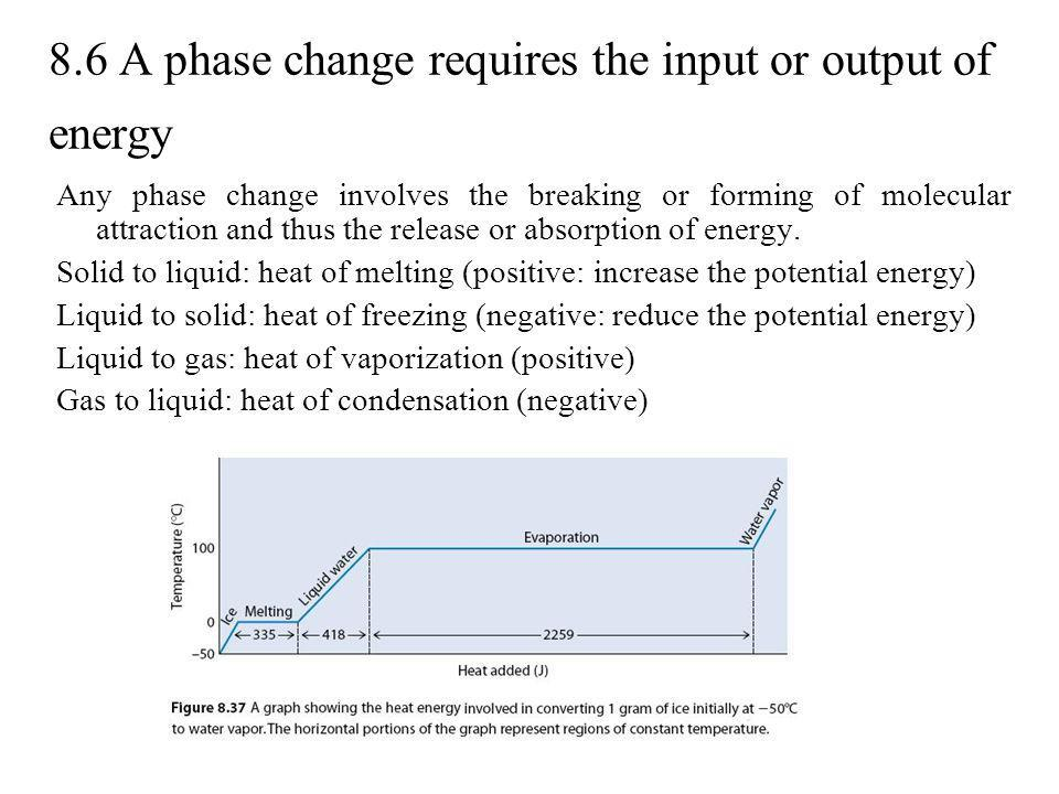 8.6 A phase change requires the input or output of energy