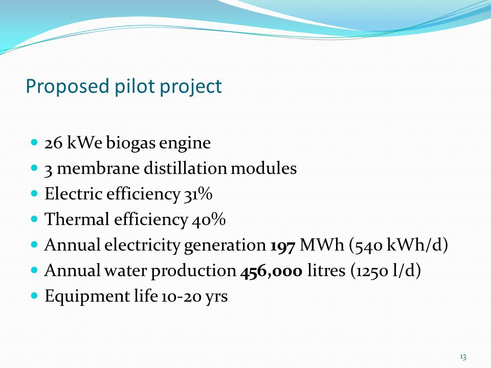 Proposed pilot project