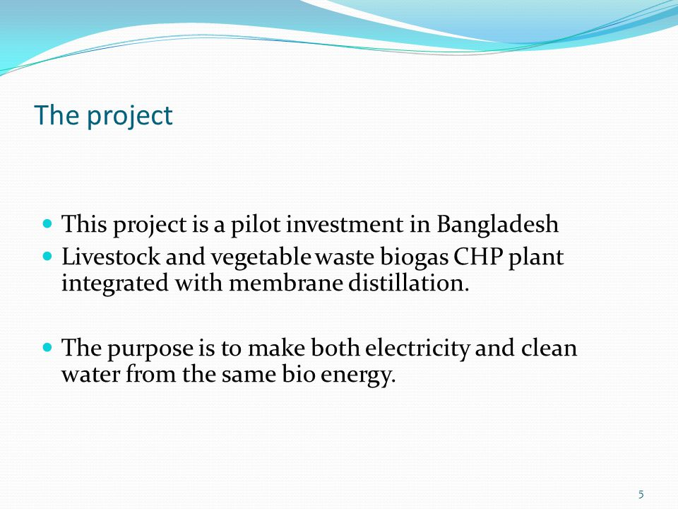 The project This project is a pilot investment in Bangladesh