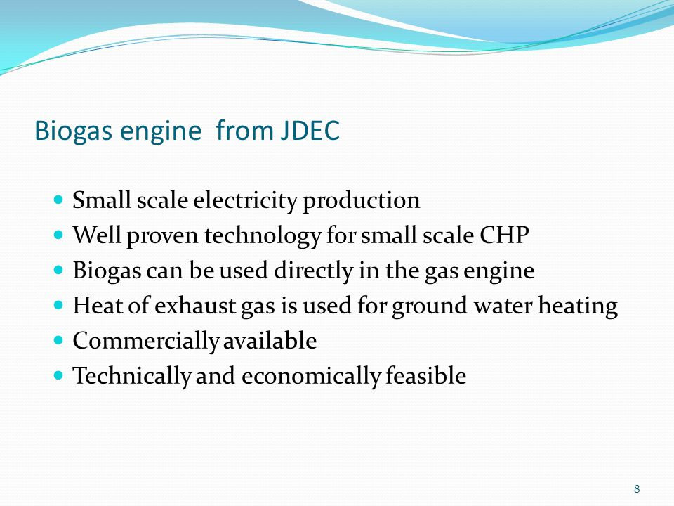 Biogas engine from JDEC