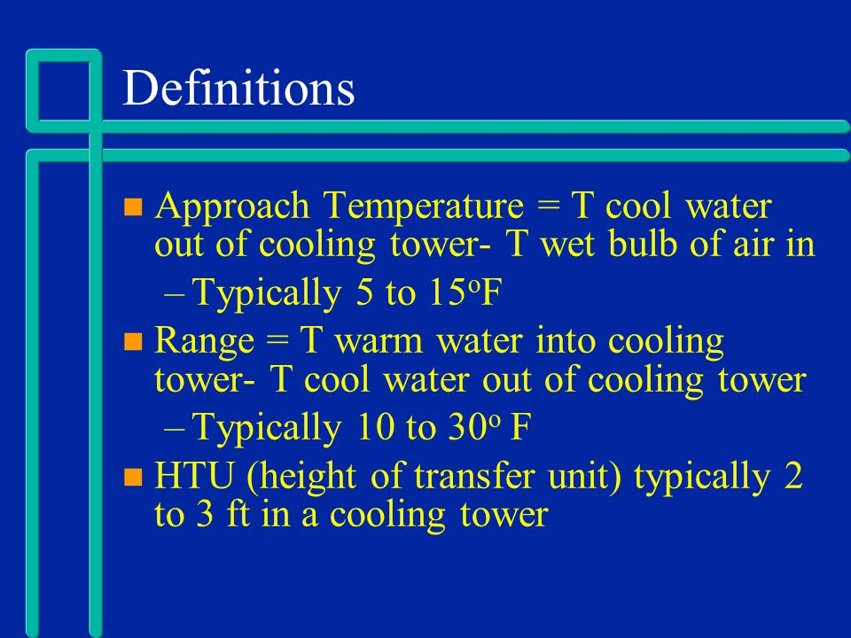 Definitions Approach Temperature = T cool water out of cooling tower- T wet bulb of air in. Typically 5 to 15oF.