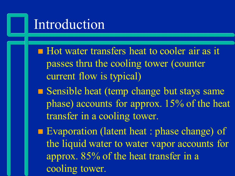 Introduction Hot water transfers heat to cooler air as it passes thru the cooling tower (counter current flow is typical)