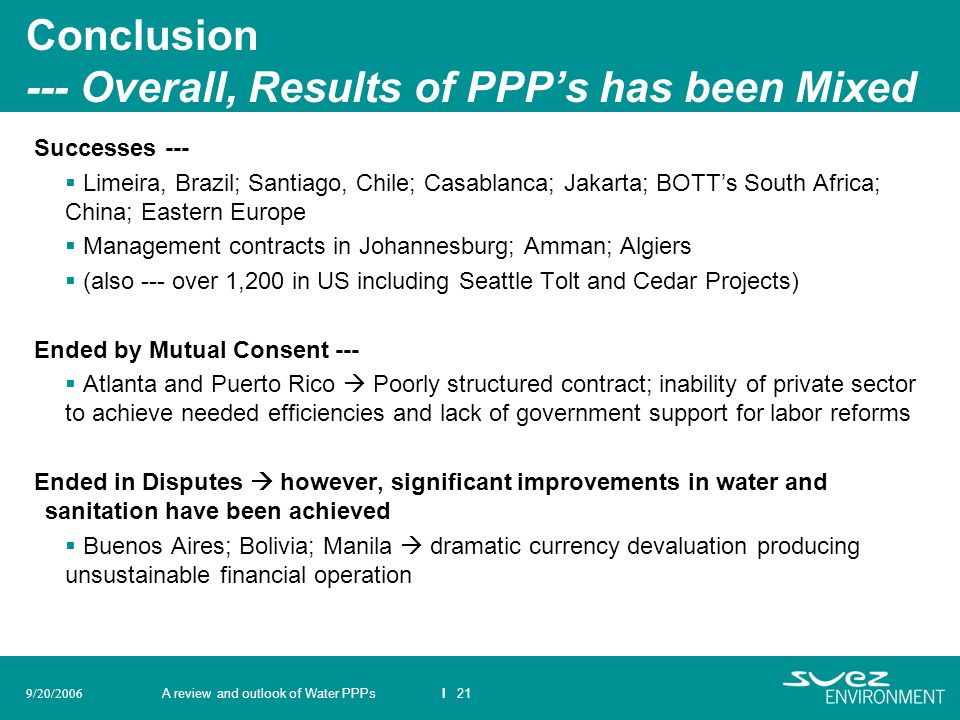 Conclusion --- Overall, Results of PPP's has been Mixed