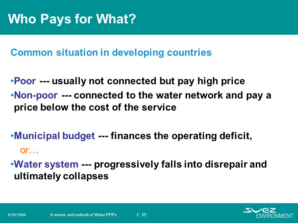 Who Pays for What Common situation in developing countries