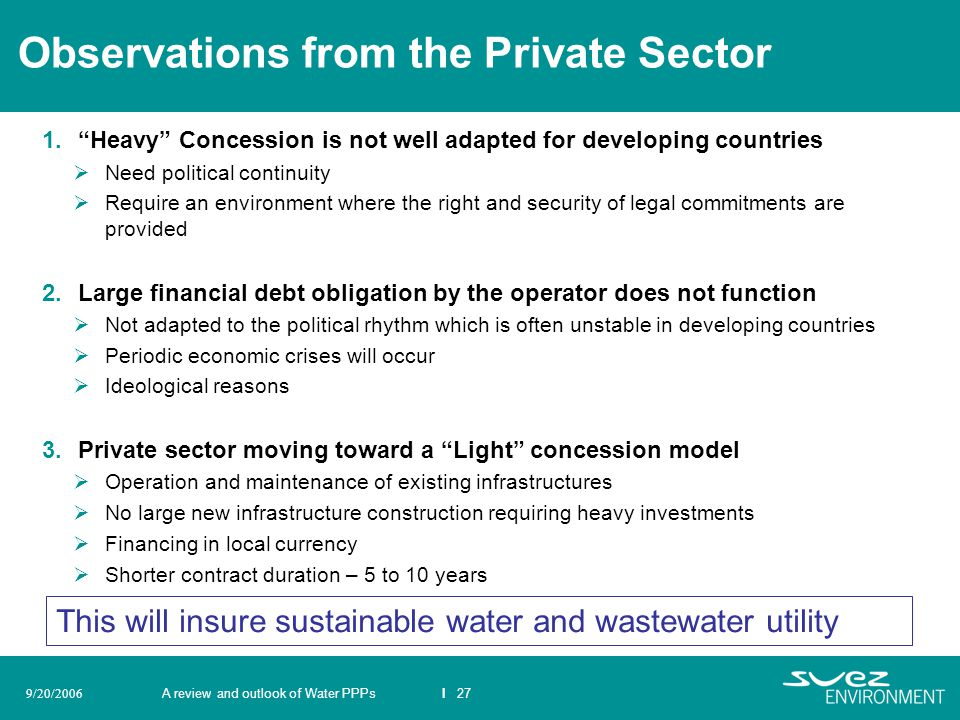 Observations from the Private Sector