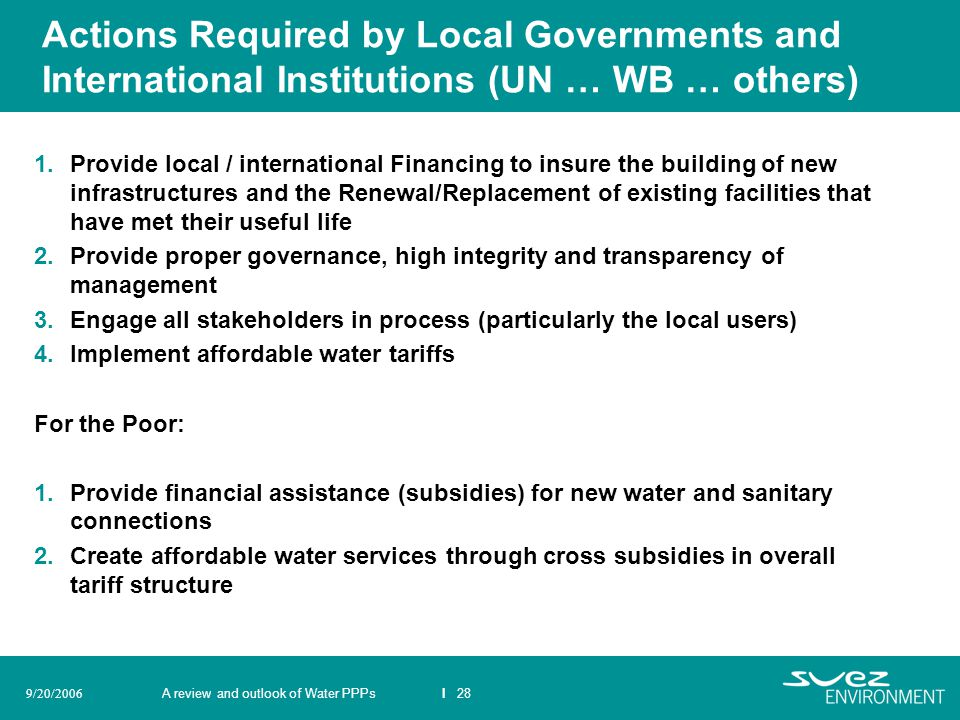 Actions Required by Local Governments and International Institutions (UN … WB … others)