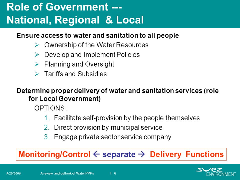 Role of Government --- National, Regional & Local