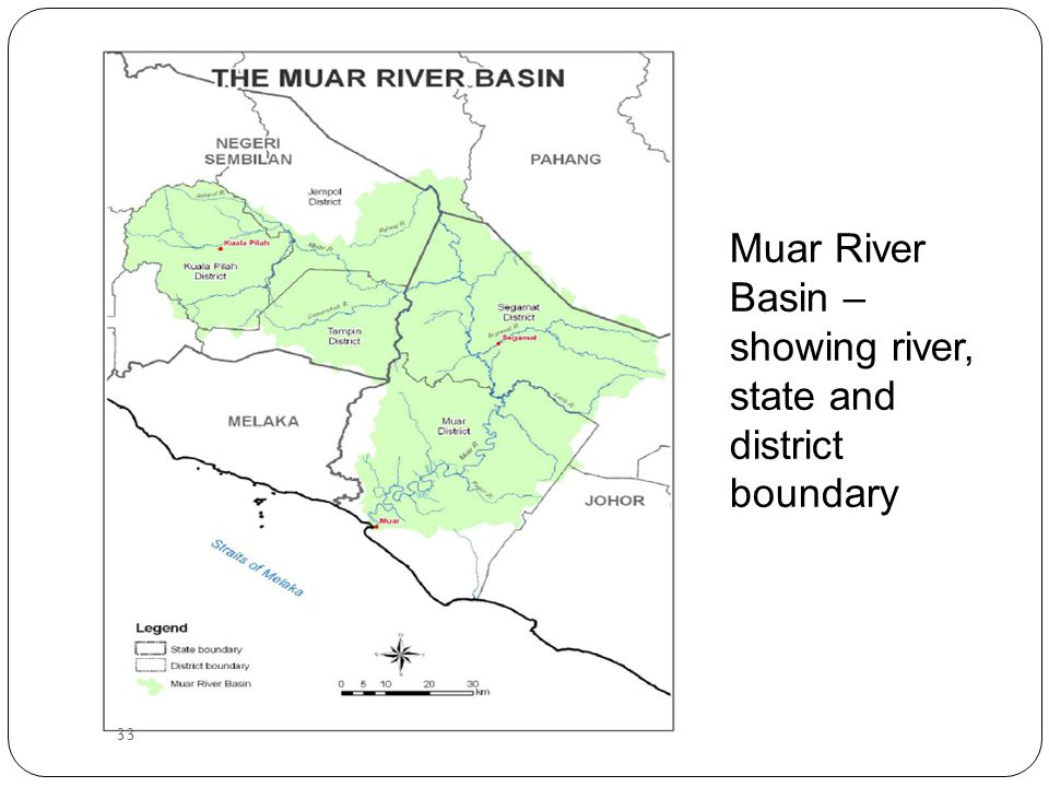 Muar River Basin – showing river, state and district boundary