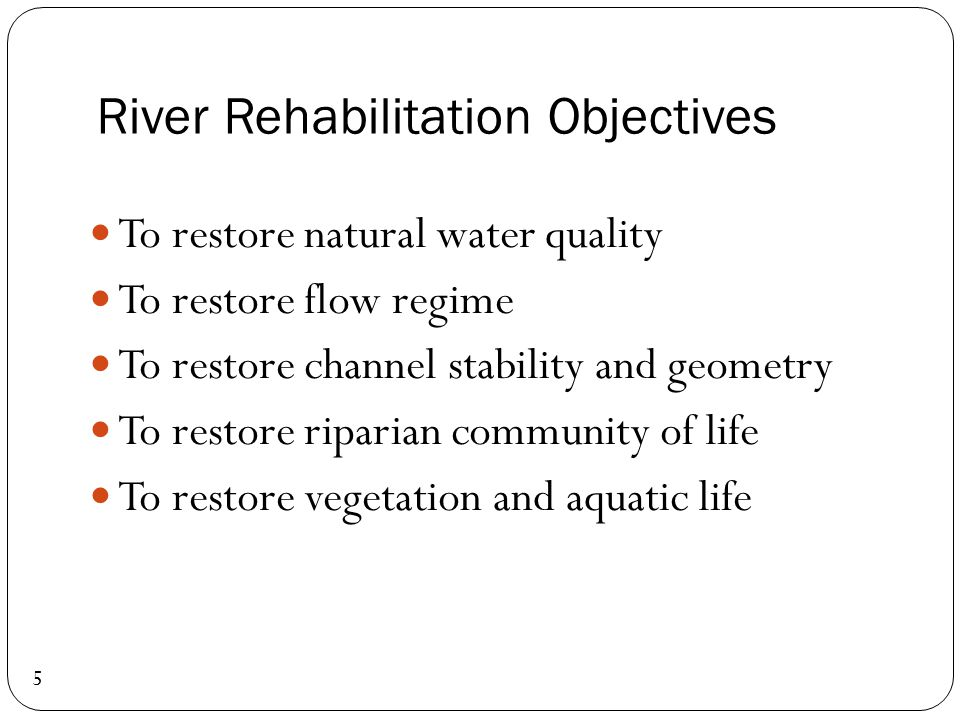 River Rehabilitation Objectives