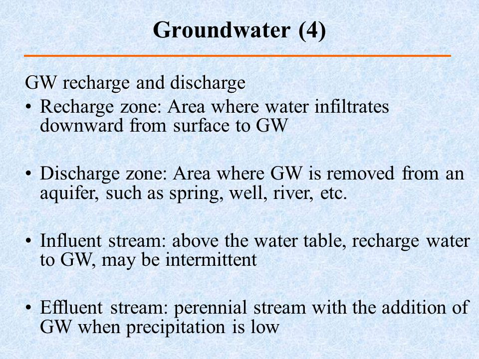 Groundwater (4) GW recharge and discharge