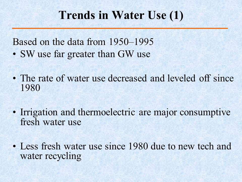 Trends in Water Use (1) Based on the data from 1950–1995