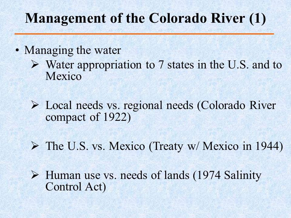 Management of the Colorado River (1)