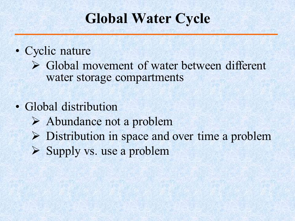 Global Water Cycle Cyclic nature