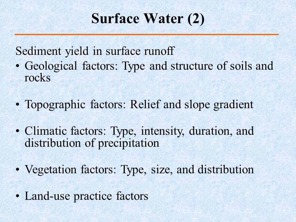 Surface Water (2) Sediment yield in surface runoff