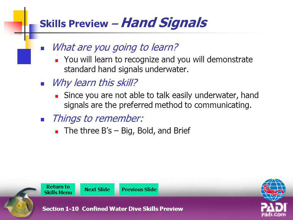 Skills Preview – Hand Signals